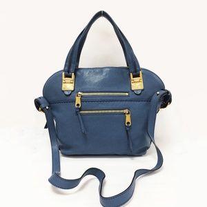 CHLOE Angie Medium Fjord Blue Leather Satchel  Bag